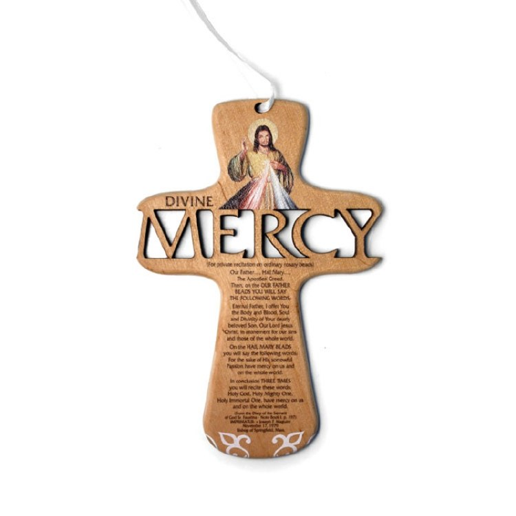 """6"""" LASER CUT DIVINE MERCY WOOD CROSS WITH CHAPLET"""