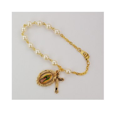 "7.5"" GOLD PEARL GUADALUPE BRACELET"