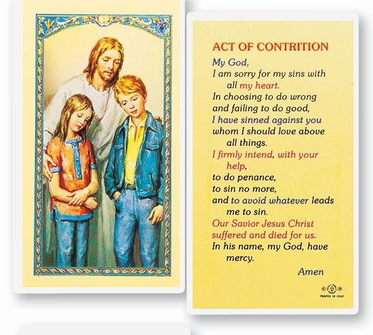 ACT OF CONTRITION - COMFORTER PRAYER CARD