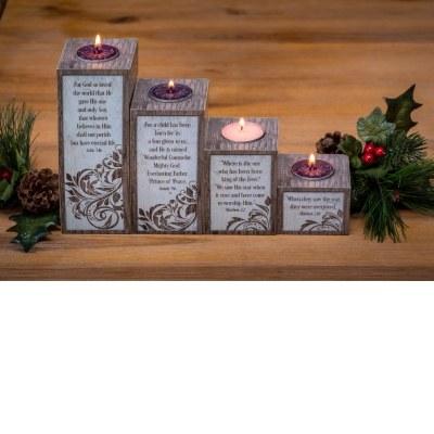 LOVE HOPE PEACE JOY PILLAR ADVENT SET WITH TEA LIGHTS