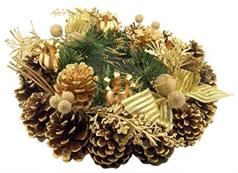 ADVENT WREATH WITH GOLD PINE CONE