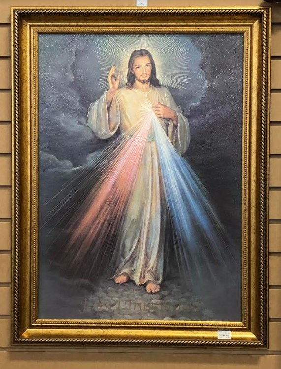 DIVINE MERCY GOLD STAMPED FRAMED ART