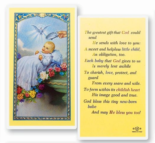 BABY'S BAPTISMAL PRAYERCARD