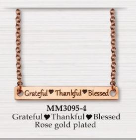 BAR NECKLACE GRATEFUL - THANKFUL - BLESSED