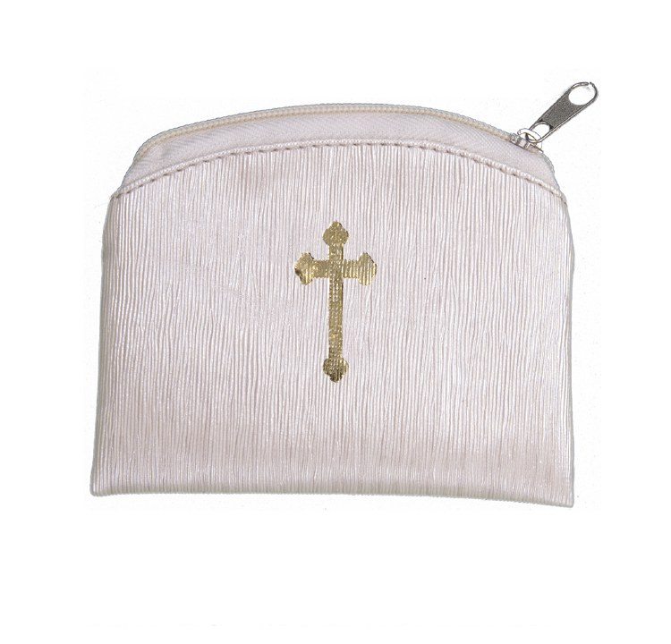 BEIGE RAW SILK GOLD STAMPED ROSARY CASE