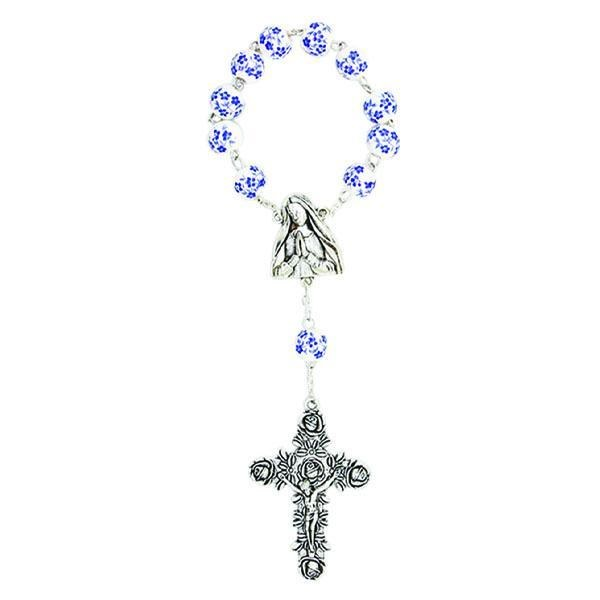 BLUE AND WHITE PORCELAIN ONE DECADE ROSARY