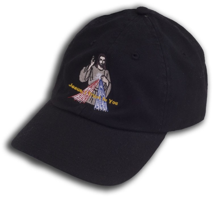Divine Mercy Embroidered Hat - Black