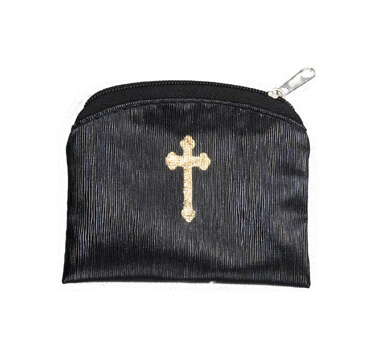 BLACK RAW SILK GOLD STAMPED ROSARY CASE