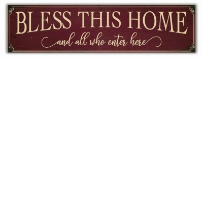 BLESS THIS HOME PORCH SIGN RED