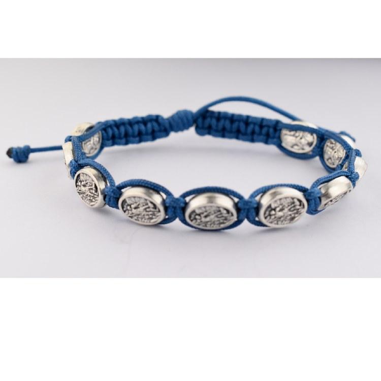 BLUE CORDED ST MICHAEL BRACELET