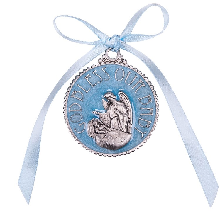BLUE ENAMELED CRIB MEDAL BOXED
