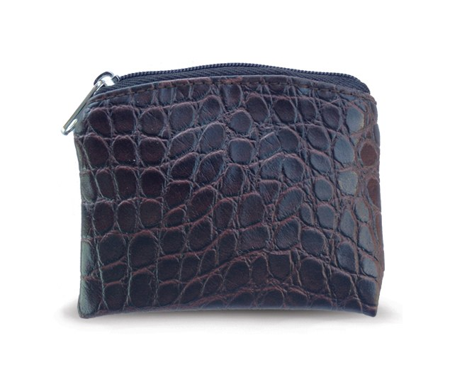 BROWN CROCODILE SKIN PATTERN ROSARY POUCH