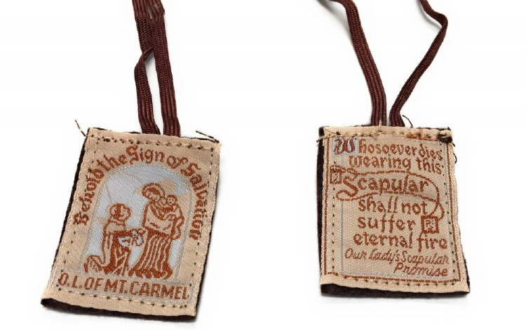 BROWN SCAPULAR ON BROWN CORD