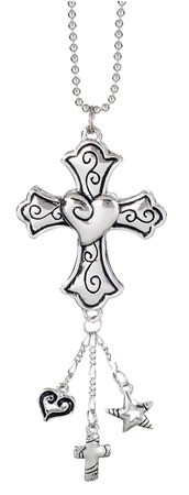 CAR ORNAMENT CROSS WITH HEART