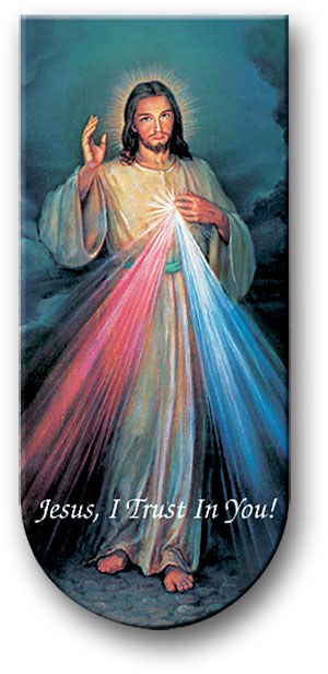 """DIVINE MERCY 3"""" MAGNETIC BOOKMARK WITH CHAPLET"""