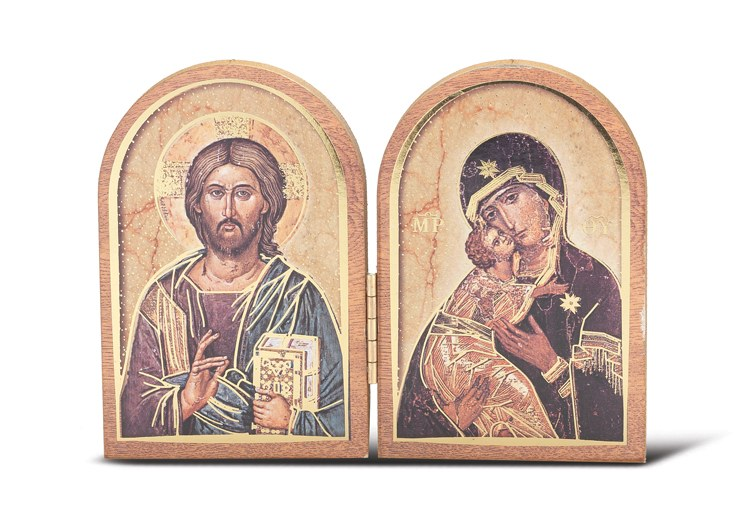 CHRIST ALL KNOWING & OL OF VLADIMIR WOOD DIPTYCH