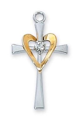 CROSS W/ GOLD HEART