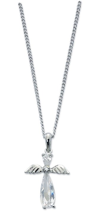 CRYSTAL ANGEL CROSS PENDANT
