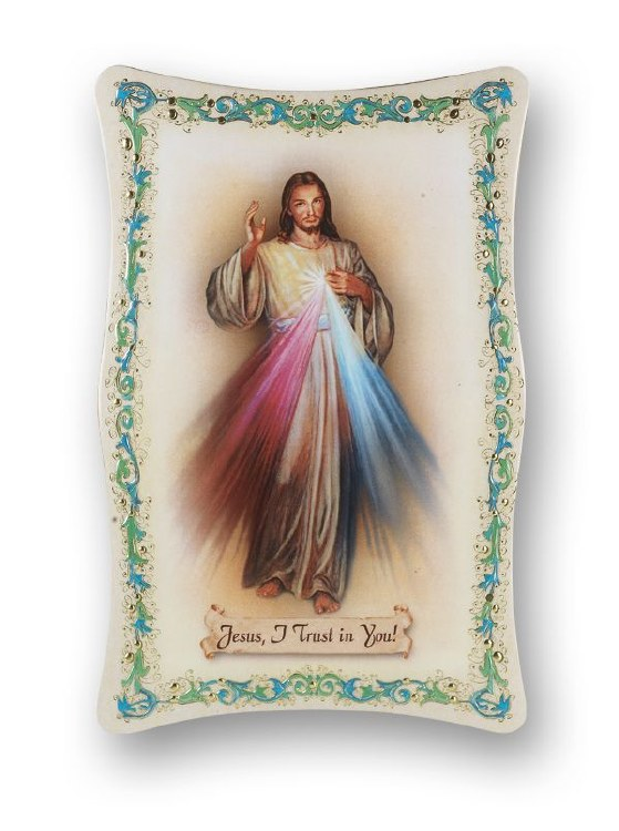 Divine Mercy Gold Stamped Italian Plaque