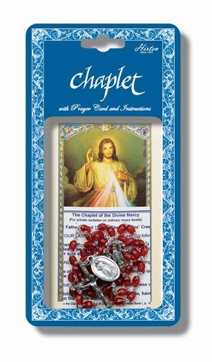 DIVINE MERCY CHAPLET WITH RED BEAD