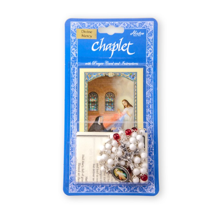 DIVINE MERCY CHAPLET WITH WHITE BEADS