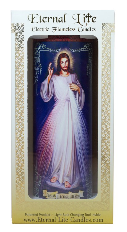 DIVINE MERCY GLASS ELECTRIC CANDLE