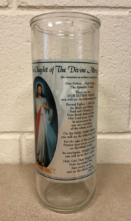 DIVINE MERCY GLASS GLOBE CANDLE HOLDER