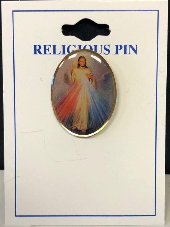 "DIVINE MERCY LAPEL PIN 1"""