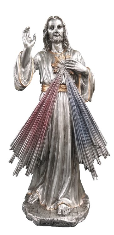 DIVINE MERCY PEWTER STYLE FINISH STATUE