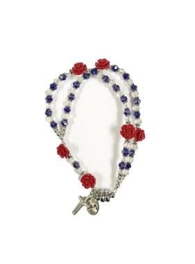 DIVINE MERCY RED ROSE BLUE CRYSTAL ROSARY MAGNETIC BRACELET