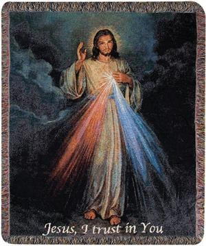 DIVINE MERCY W/WORDS 50X60 TAPESTRY THROW