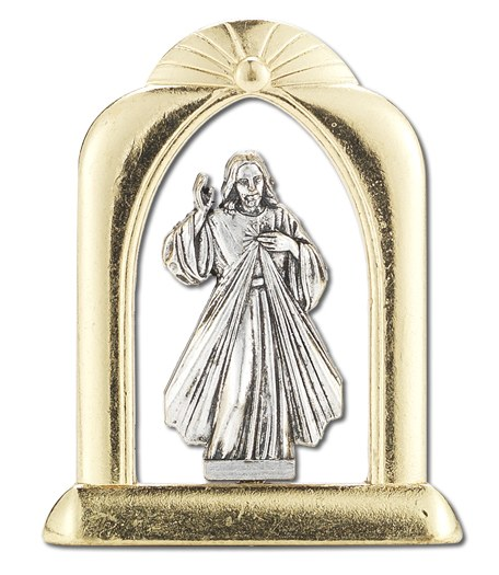 DIVINE MERCY ARCHED GOLD AND SILVER STANDING PLAQUE