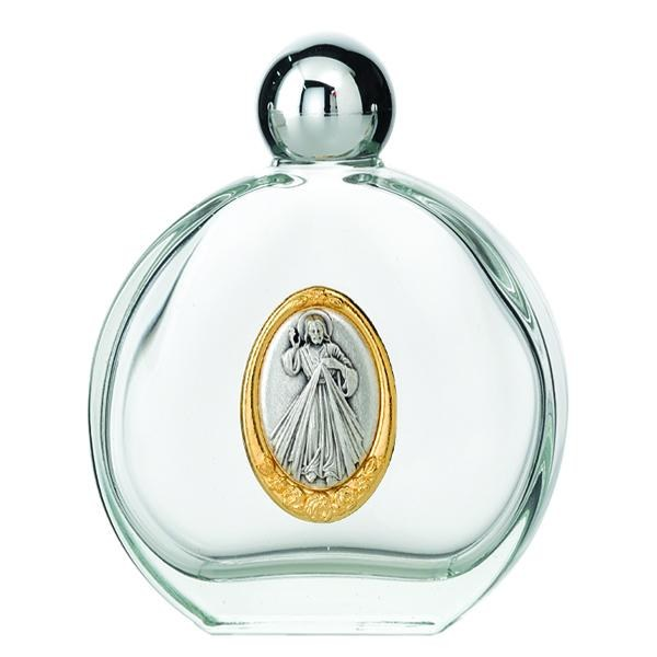 GLASS HOLY WATER BOTTLE FEATURING DIVINE MERCY