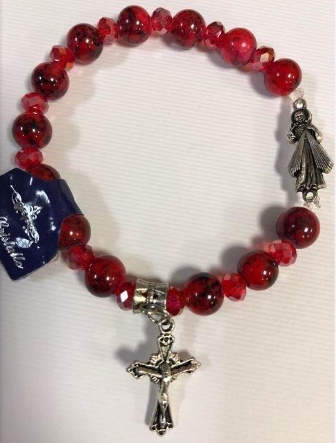 DIVINE MERCY REAL RED CRYSTAL STRETCH BRACELET