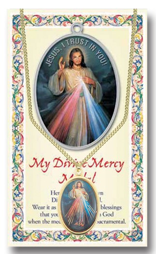 DIVINE MERCY/ST FAUSTINA ENAMELED MEDAL WITH PRAYERCARD