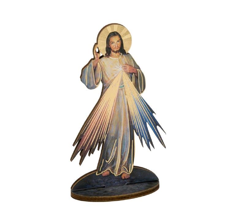 "DIVINE MERCY 6"" GOLD FOIL LASER CUT WOODEN STATUE"