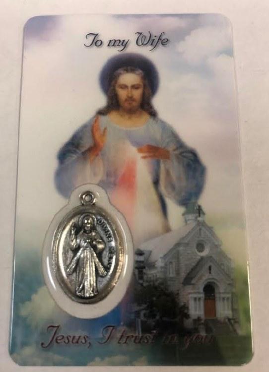 DIVINE MERCY TO MY WIFE PRAYER CARD