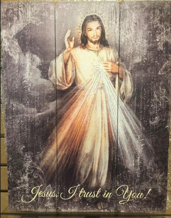 "DIVINE MERCY WOOD PLAQUE 15"""