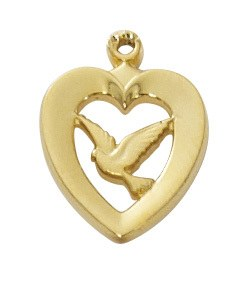 "G/SS HEART W/DOVE 18"" CHAIN"