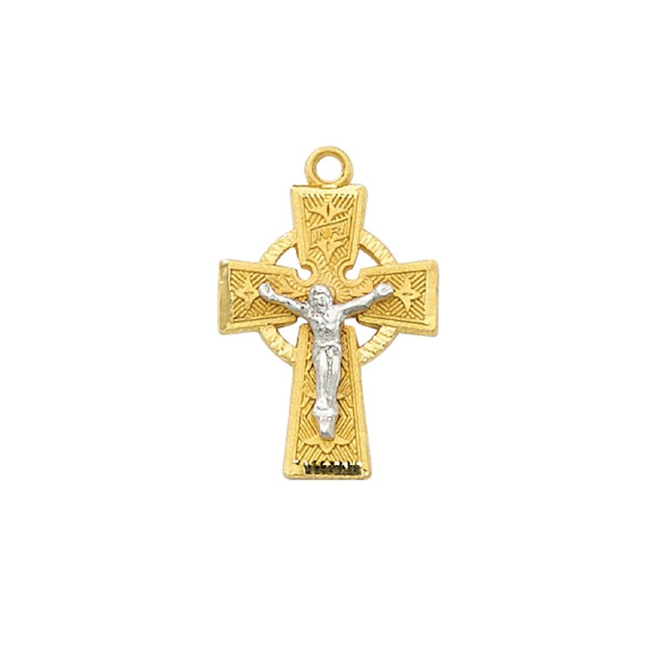 GOLD OVER STERLING CELTIC CRUCIFIX