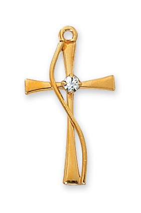 GOLD OVER STERLING CROSS WITH STONE