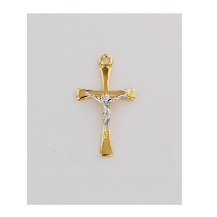GOLD OVER STERLING CRUCIFIX WITH SILVER CORPUS
