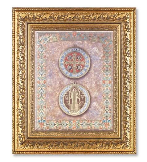 St Benedict in a Detailed Ornate Gold Leaf Antique Frame