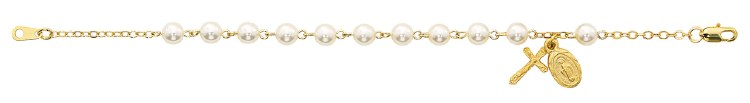 GOLD PLATED PEARL ROSARY BRACELET