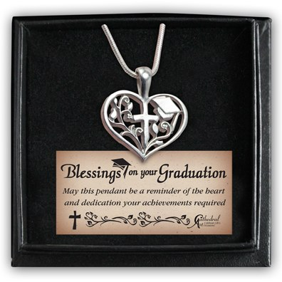 GRADUATE HEART WITH CROSS NECKLACE