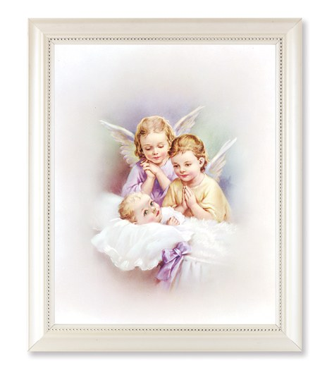Guardian Angels Print in a Pearlized White Frame