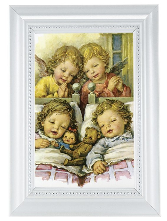 GUARDIAN ANGELS WITH TWINS IN A PEARLIZED WHITE FRAME