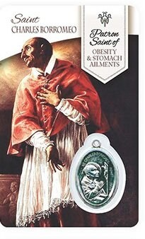 HEALING ST CHARLES BORROMEO PRAYER CARD WITH MEDAL