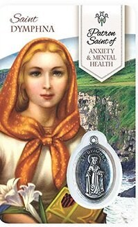 HEALING ST DYMPHNA PRAYER CARD WITH MEDAL