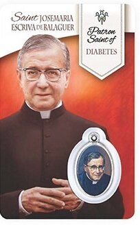 HEALING ST JOSEMARIA PRAYER CARD WITH MEDAL